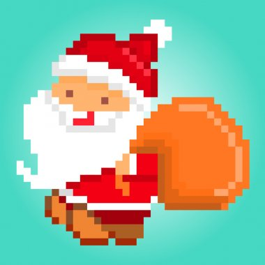 Pixel art, Santa Claus delivering gifts, Christmas card