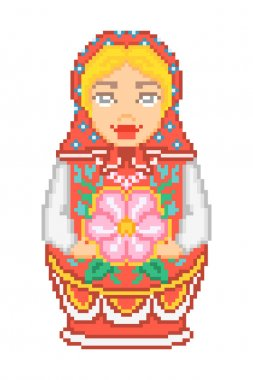 Pixel art traditional national russian matryoshka doll icon