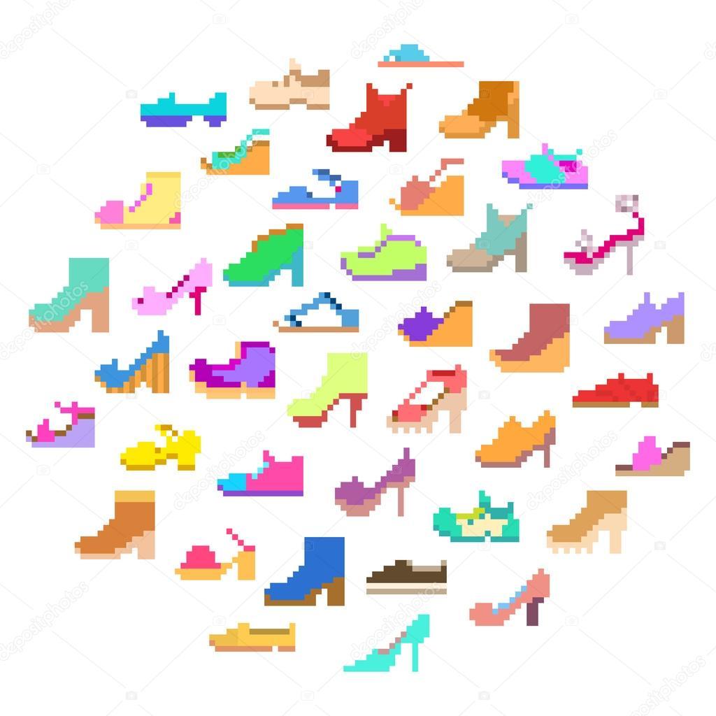 Big pixel art set, 40 different types of woman\u0027s shoes