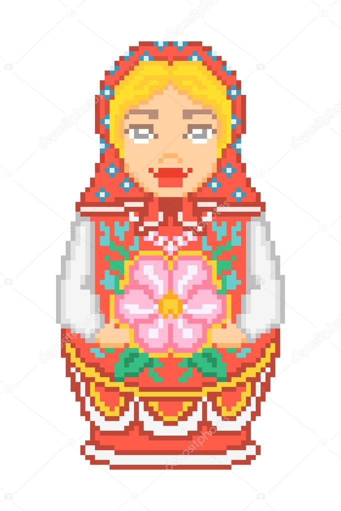 Pixel art traditional national russian matryoshka doll icon