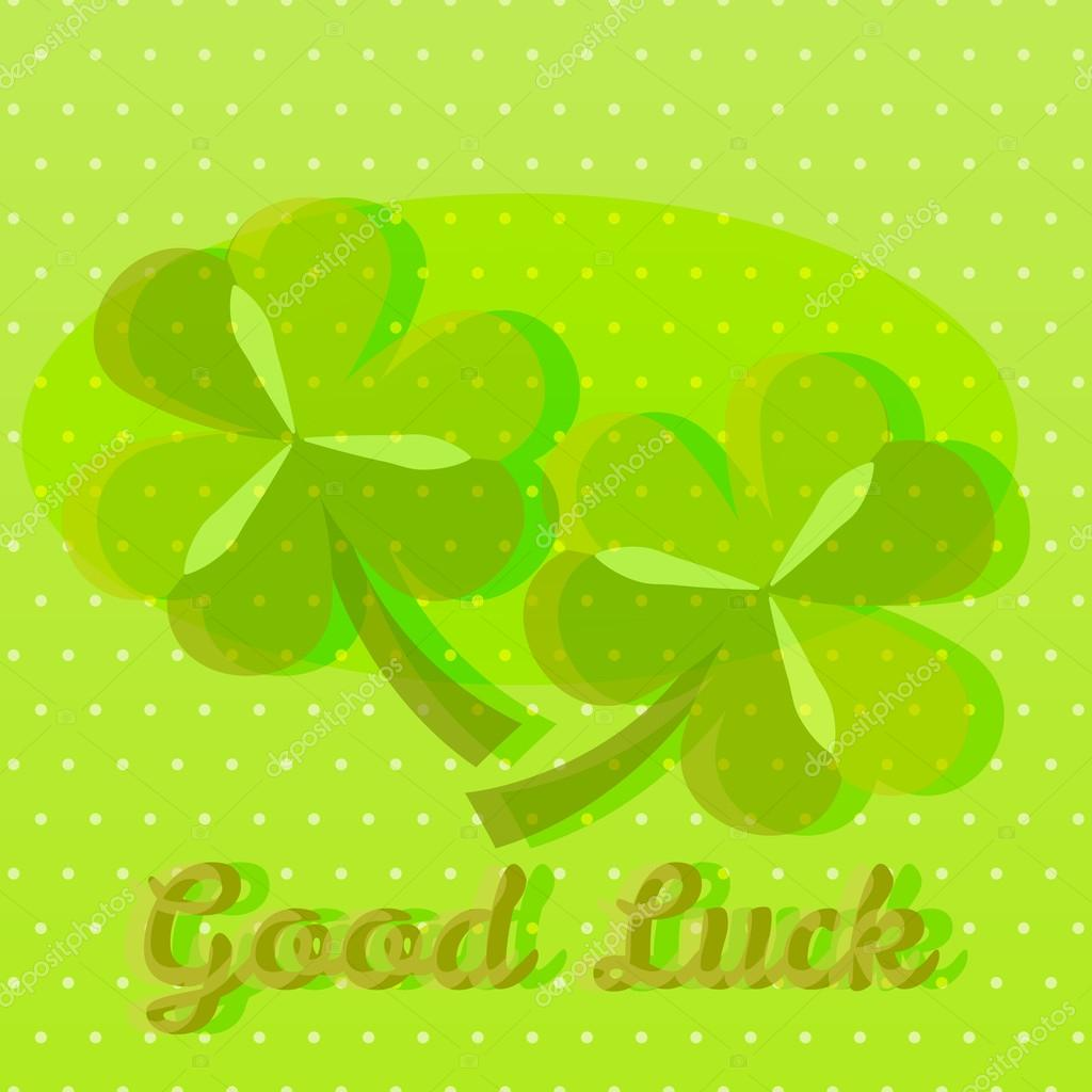 Bright green good luck greeting card with two shamrocks — Stock ...