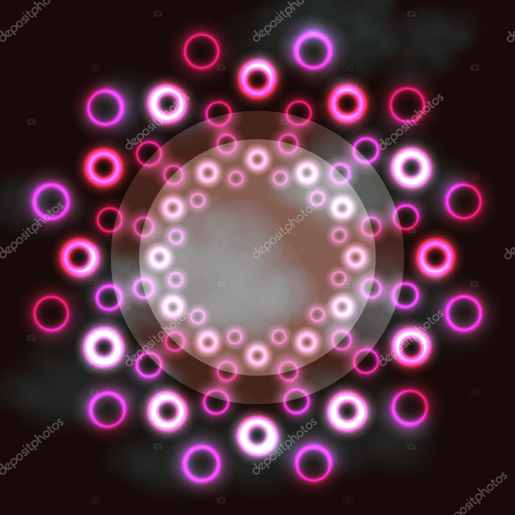 Futurista ronda marco cósmico anillos de neón rosa y texto espacio ...