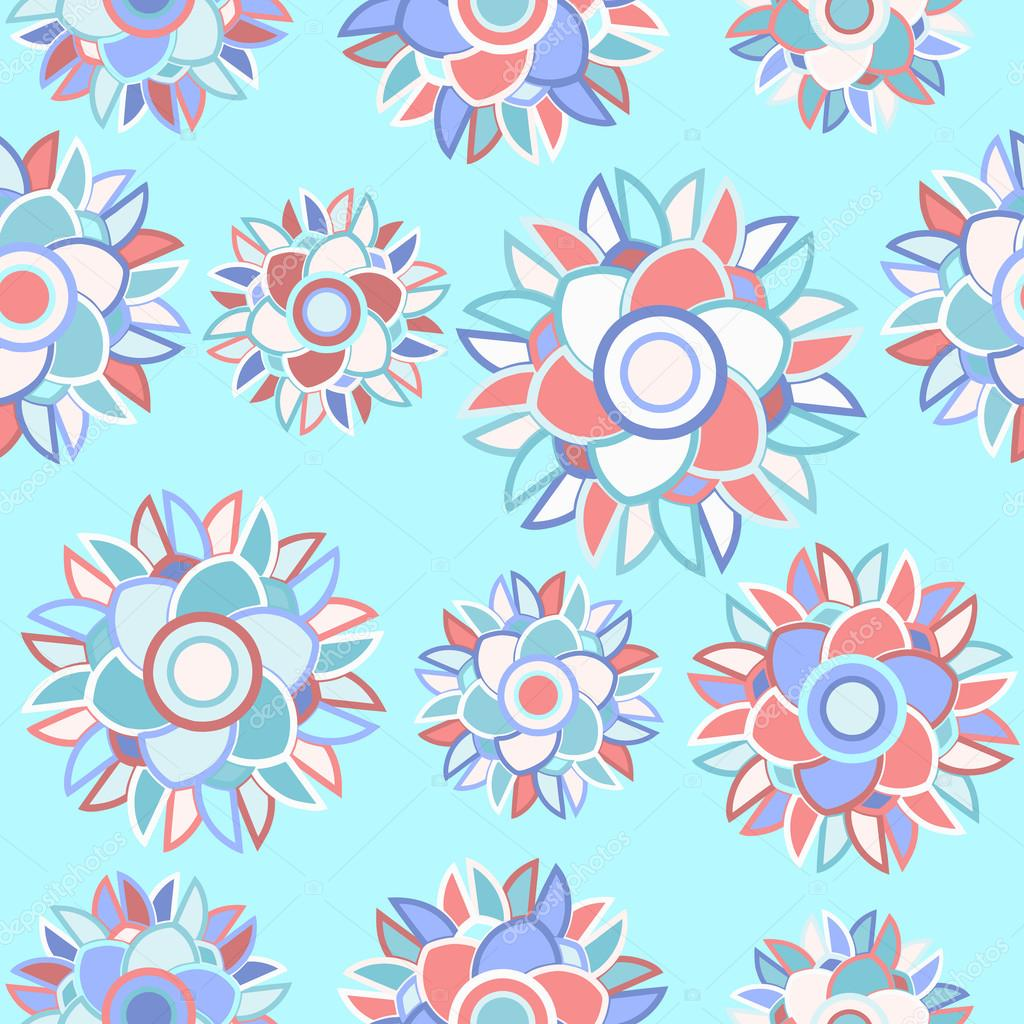 Pale blue seamless floral abstract background