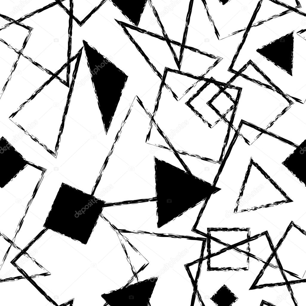 Abstract monochrome seamless pattern with triangles and squares