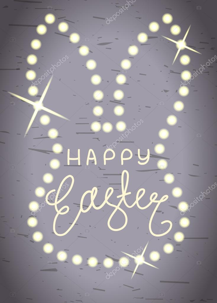 Feliz Pascua, línea de rotulación de brillante marco de cabeza de ...
