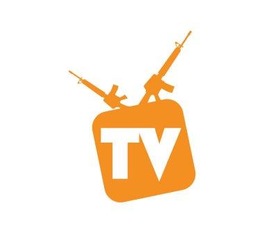 Orange tv icon with rifles for antennas isolated on white background icon