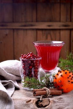 ingredients for a spicy autumn winter drink with cranberries and cinnamon