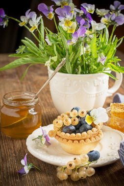 Light fresh crunchy pastry tartlet of blueberries