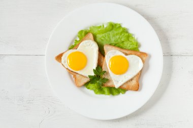 Concept of healthy breakfast - slices of wholewheat toast with t