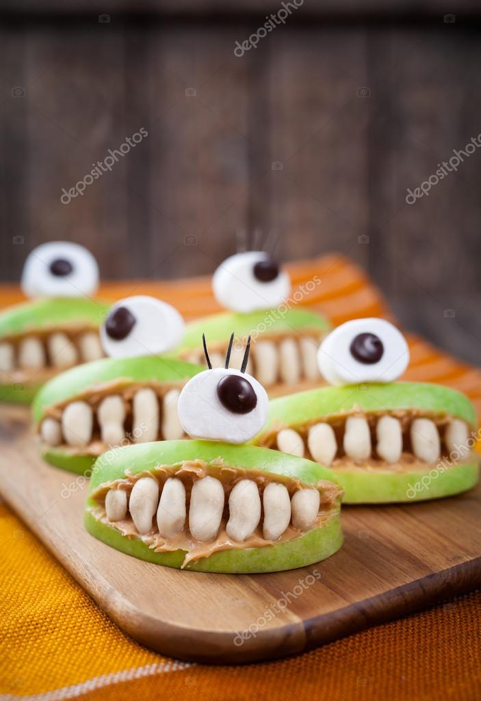Scary halloween food monsters healthy natural snack sweets for party ...