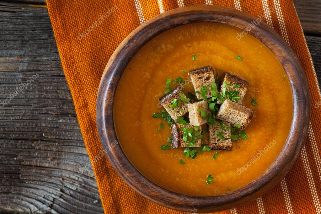 Natural vegetarian pumpkin cream soup with croutons delicious natural vegetarian pumpkin cream soup with croutons delicious organic food recipe traditional halloween or thanksgiving forumfinder Gallery