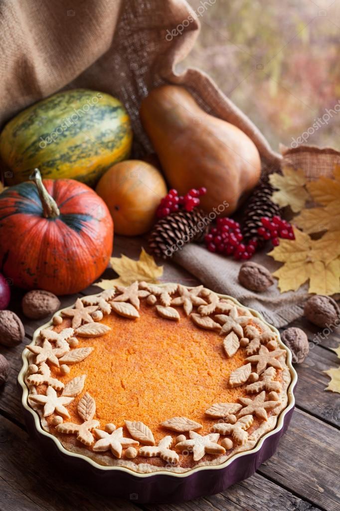 Homemade Seasonal Pumpkin Tart Pie With Cute Decoration On Top Recipe Healthy Organic Pastry