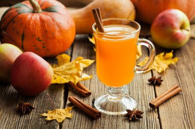 Hot apple cider healthy traditional winter christmas or thanksgiving holiday beverage. Sweet organic autumn drink with spices, cinnamon and anise on vintage wooden background.