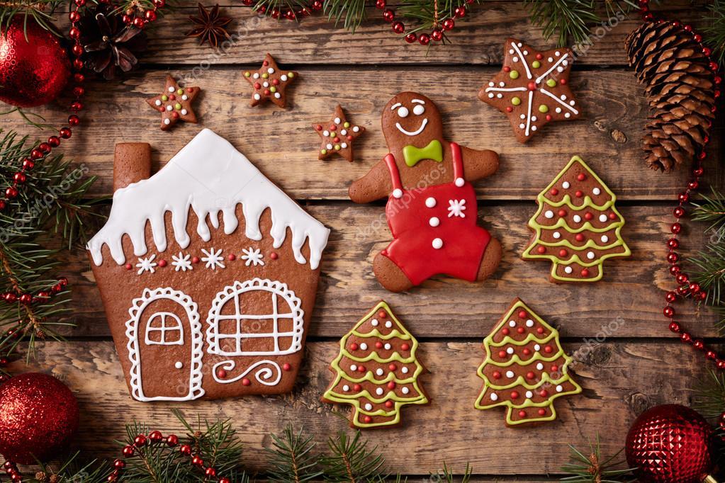 Weihnachten Lebkuchen Zusammensetzung, ein Mann, Sterne, Haus und ...