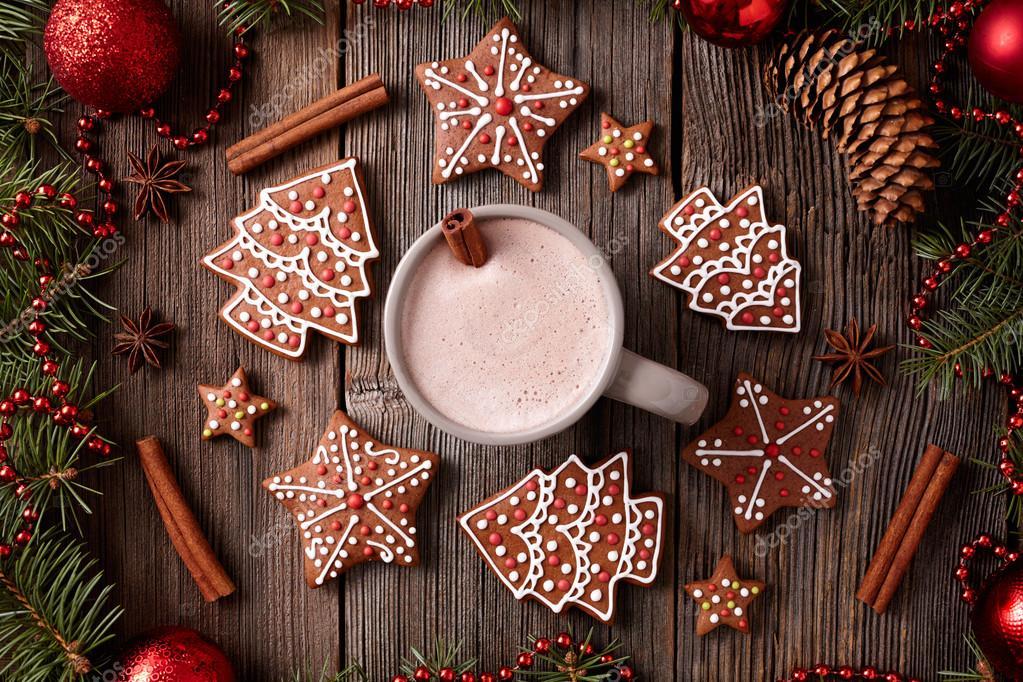 Tasse heiße Schokolade oder Kakao mit Lebkuchen Zusammensetzung in ...
