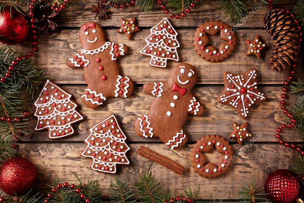 Gingerbread man and woman, fir trees, stars cookies christmas ...