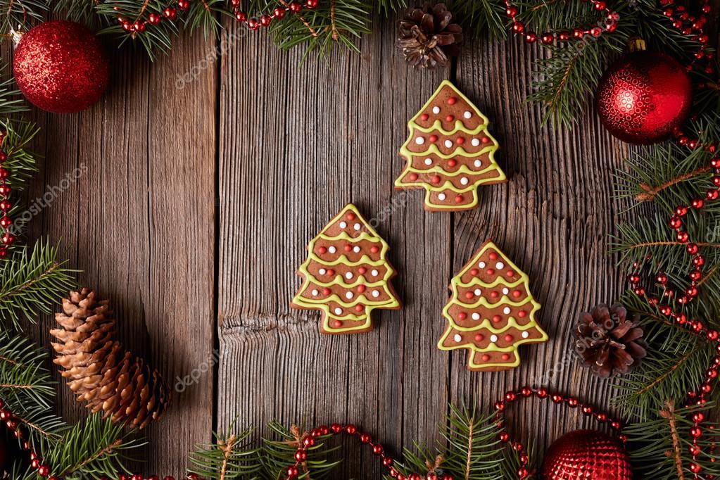 Weihnachtslebkuchentannenbäume Cookies Zusammensetzung in ...