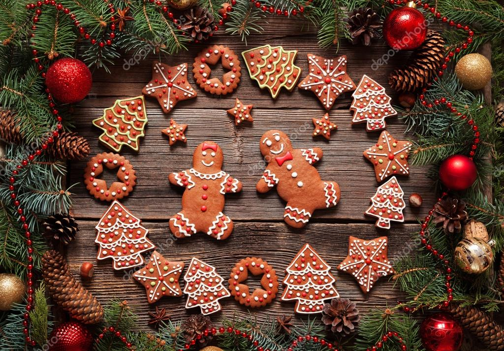 Gingerbread Man And Woman Couple Fir Tree Stars Christmas Cookies Composition With Xmas Tree Decoration On Vintage Wooden Table Background Stock Photo Image By C Greenart Photography 93038478