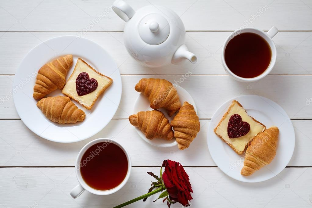 romantic breakfast for two with toasts heart shaped jam. Black Bedroom Furniture Sets. Home Design Ideas