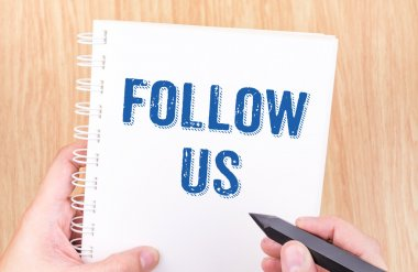Follow us word on white  binder notebook