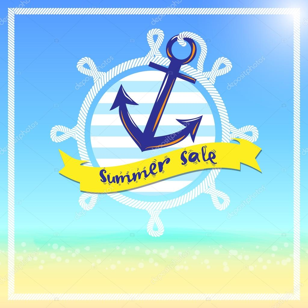 Summer sale with anchor and boat — Stock Vector © weedezign