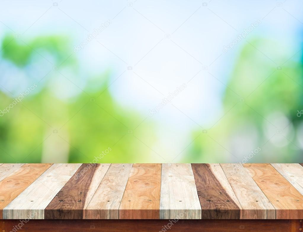 Empty White Wood Table Top With Sun And Blur Green Tree Bokeh Ba U2014 Stock  Photo