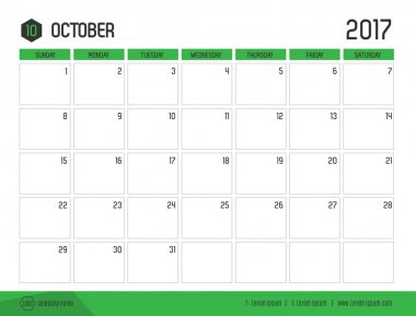 Vector of Calendar 2017 new year, October with green bar color a