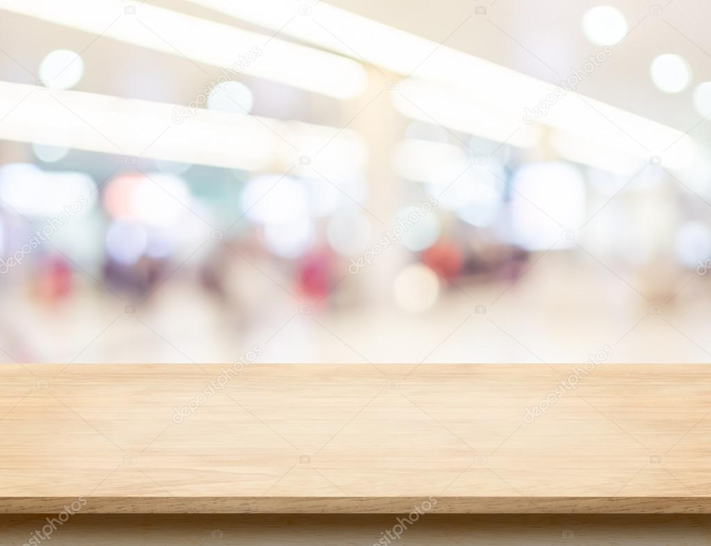 table top. Empty Wood Table Top With Office Building Hall Way Blur Backgrou \u2014 Foto De Stock