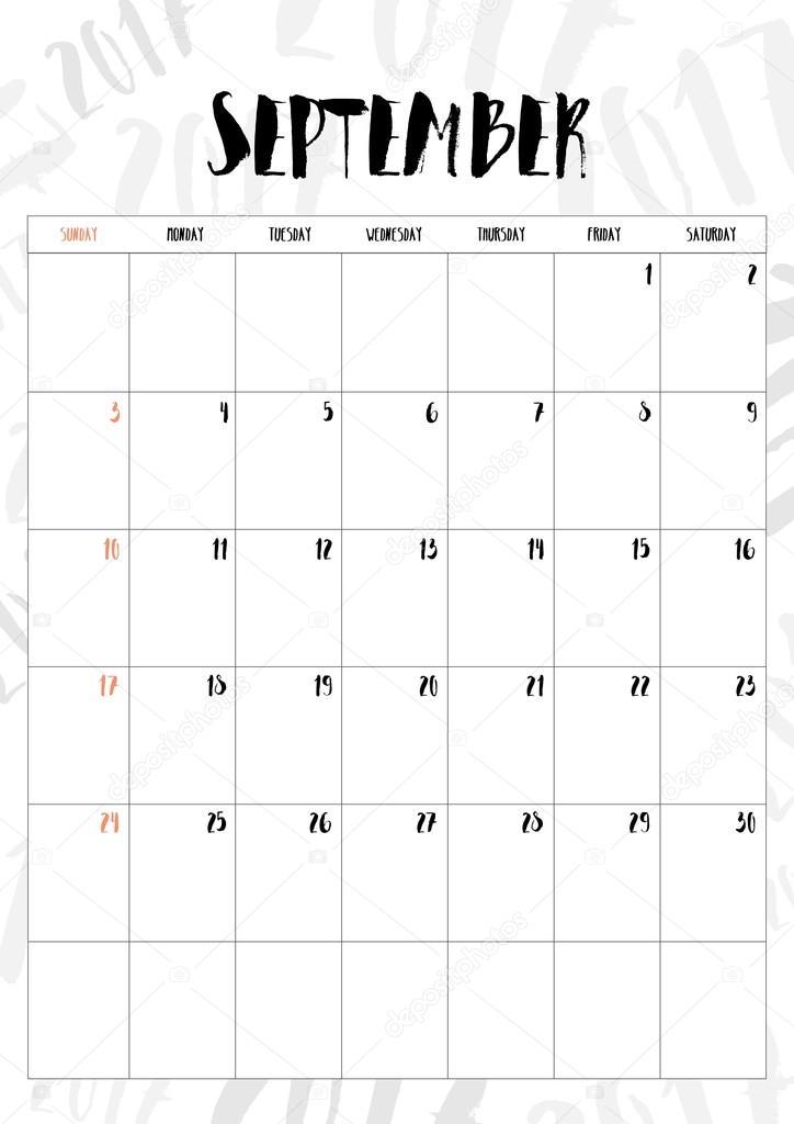 Calendrier Mois De Septembre.Vector 2017 Calendrier Mois De Septembre Avec Le Tableau
