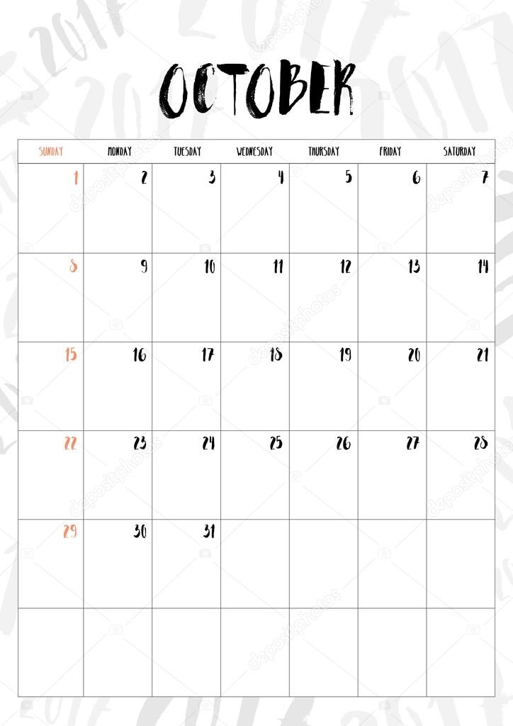 vector 2017 calendar october month with table on 2017 pattern ba