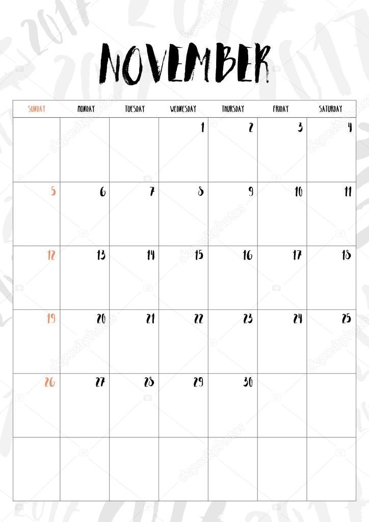 Vector 2017 calendario mes de noviembre con mesa en 2017 patr n b vector de stock weedezign - Mes noviembre 2017 ...