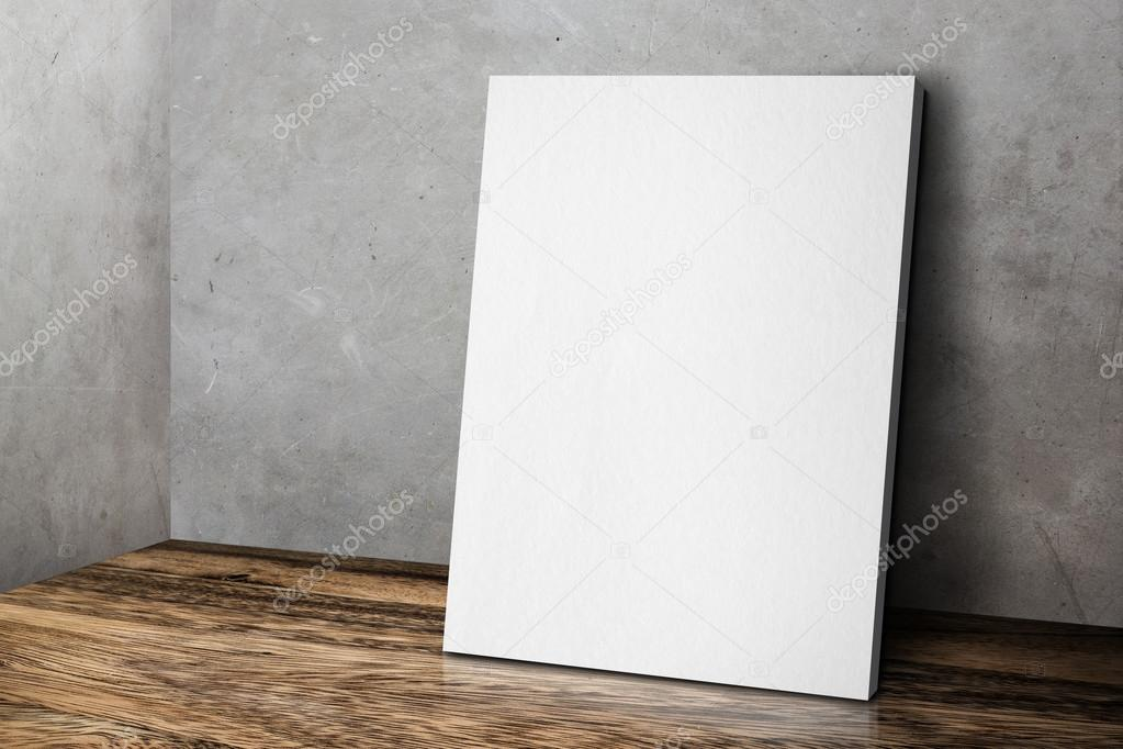 blank white poster frame leaning at grunge grey concrete wall an stock photo 120923756 - White Poster Frame