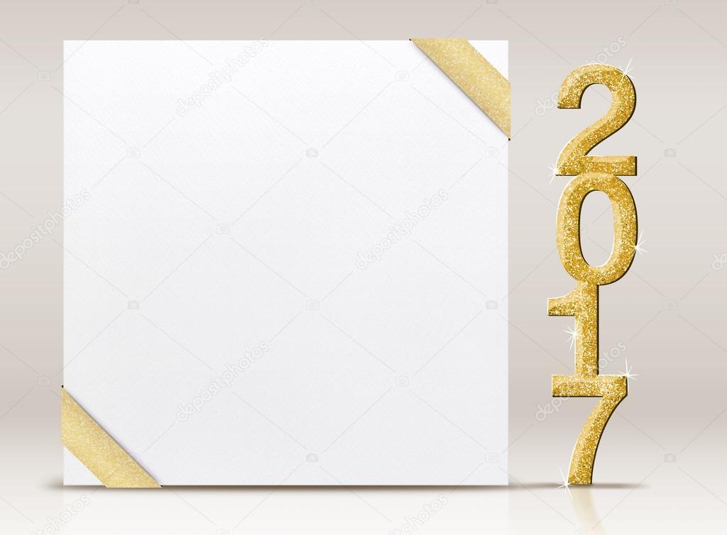 Neujahr 2017 glitter Anzahl und weiße Karte mit Goldband in ...
