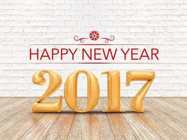 Happy New year 2017 (3d rendering) gold color number on wood pla
