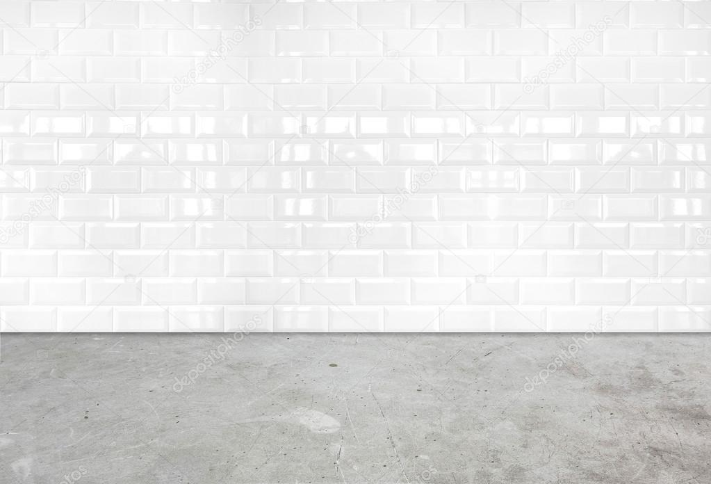 Room perspective,white ceramic tile wall and cement ground — Stock ...