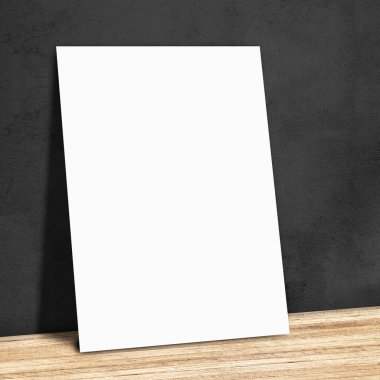 blank white paper on the black wall and the wooden floor,Mock up