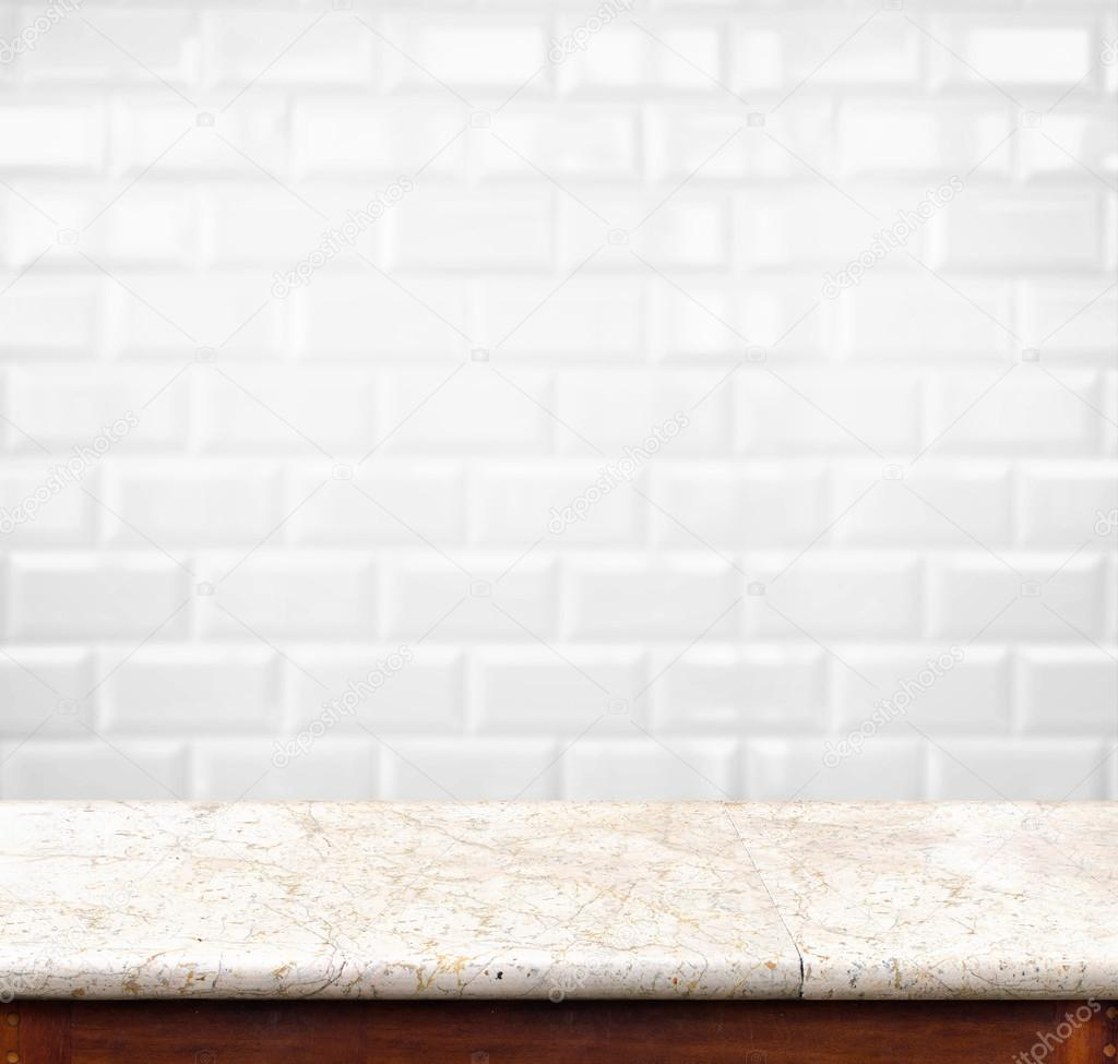 Empty marble table and ceramic tile brick wall in background pr empty marble table and ceramic tile brick wall in background pr stock photo dailygadgetfo Gallery