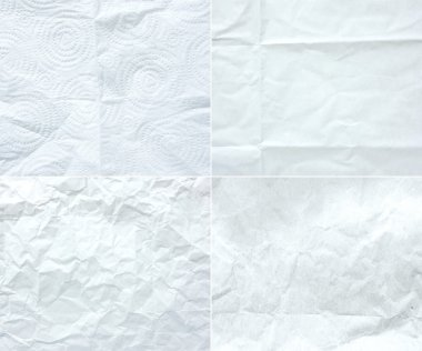 Collection of white wrinkle paper,