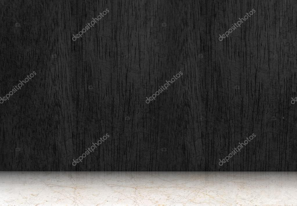 Zwarte houten vloer perspectief kamer u stockfoto weedezign