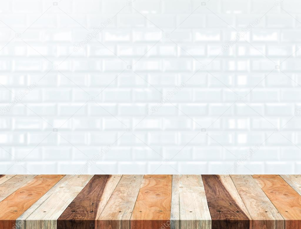 Empty tropical wood table and blur white ceramic tile brick wall empty tropical wood table and blur white ceramic tile brick wall stock photo dailygadgetfo Gallery