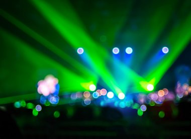 Bokeh lighting in concert with audience