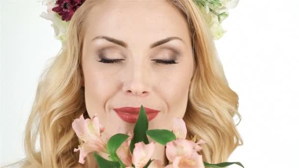 Girl flowers spring
