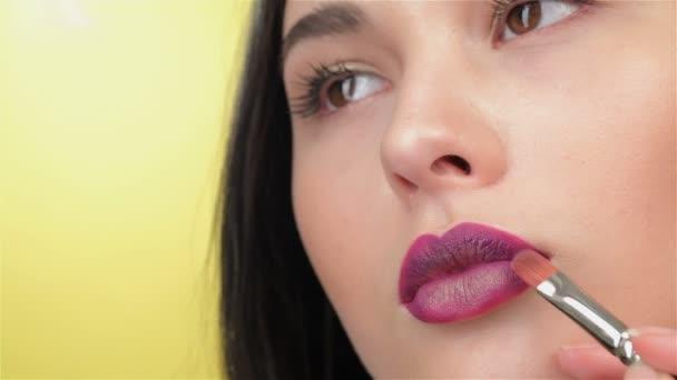 Visagist paints lips of brunette girl