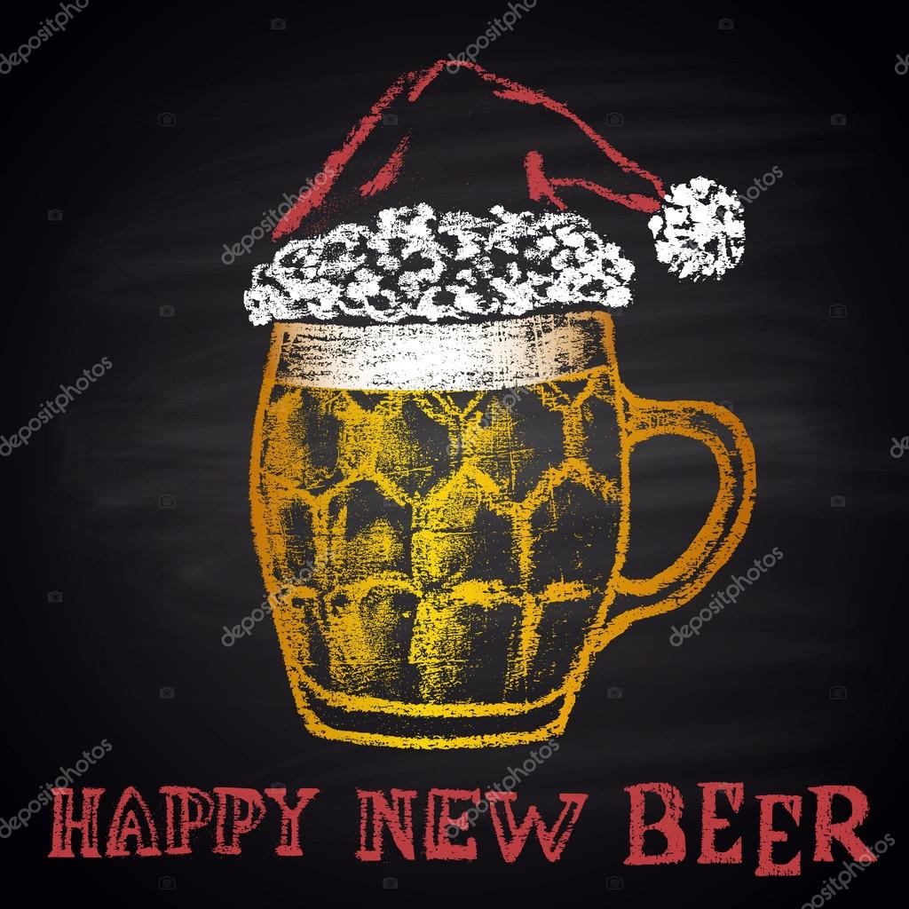 colored chalk drawn original illustration for merry christmas and happy new year with beer mug vector by anat21om