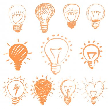 Set of cartoon light bulbs. Symbol ideas