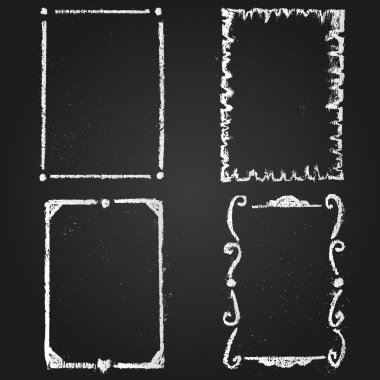 Set of chalk painted frames on a black chalkboard stock vector