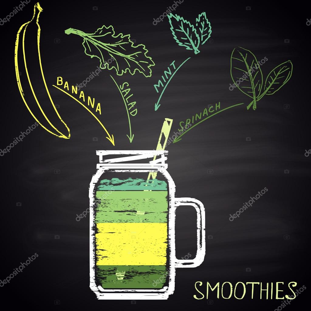 Colorful chalk painted glass with smoothie