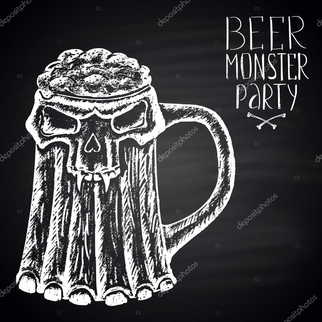 Halloween Bier.Bier Monster Party Halloween Poster Stockvector