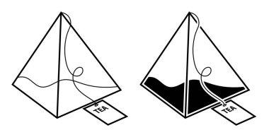 Pyramid tea bag icon. Festive tea party. Black and white vector icon