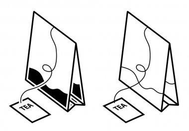Classic form tea bag icon. Festive tea party. Black and white vector icon